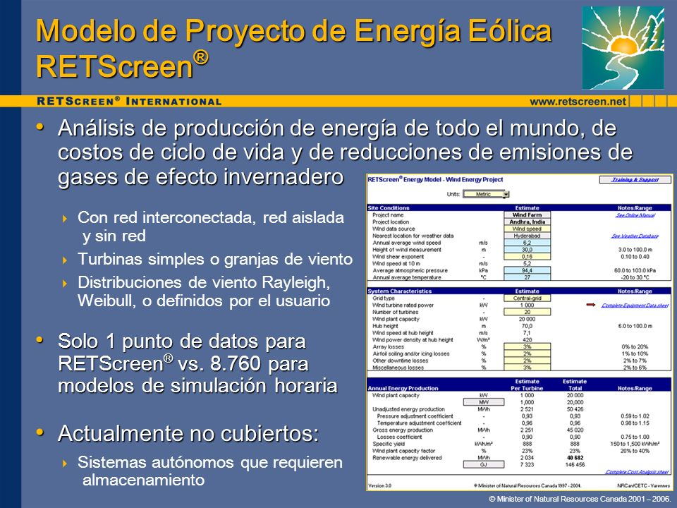 Modelo de Proyecto de Energía Eólica RETScreen®