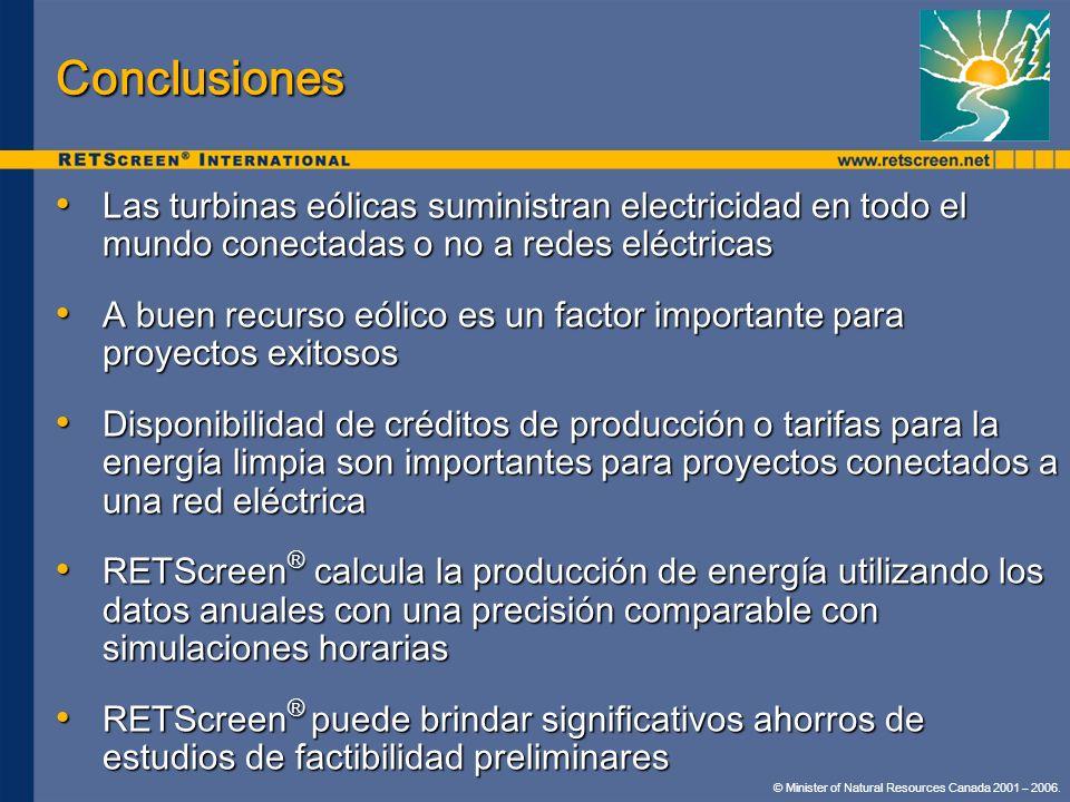 Conclusiones Las turbinas eólicas suministran electricidad en todo el mundo conectadas o no a redes eléctricas.