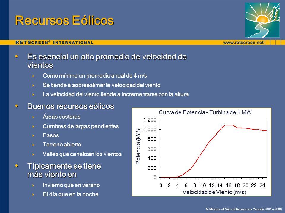 Recursos Eólicos Es esencial un alto promedio de velocidad de vientos