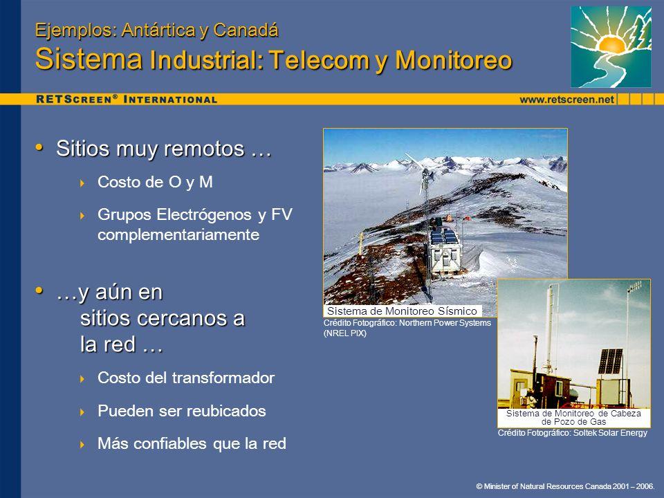 Ejemplos: Antártica y Canadá Sistema Industrial: Telecom y Monitoreo