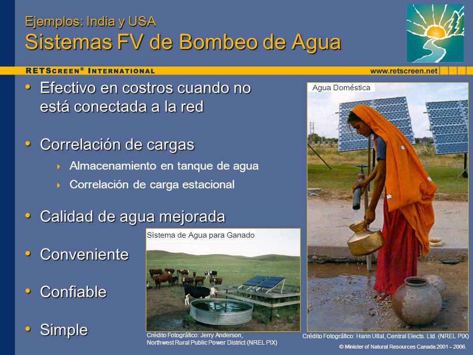 Ejemplos: India y USA Sistemas FV de Bombeo de Agua