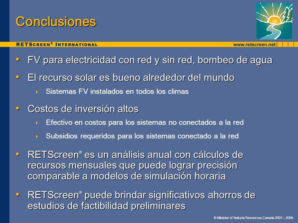 Conclusiones FV para electricidad con red y sin red, bombeo de agua