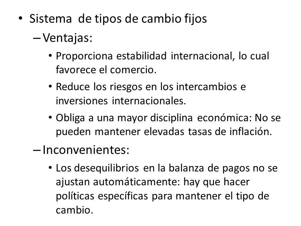 Sistema de tipos de cambio fijos Ventajas: