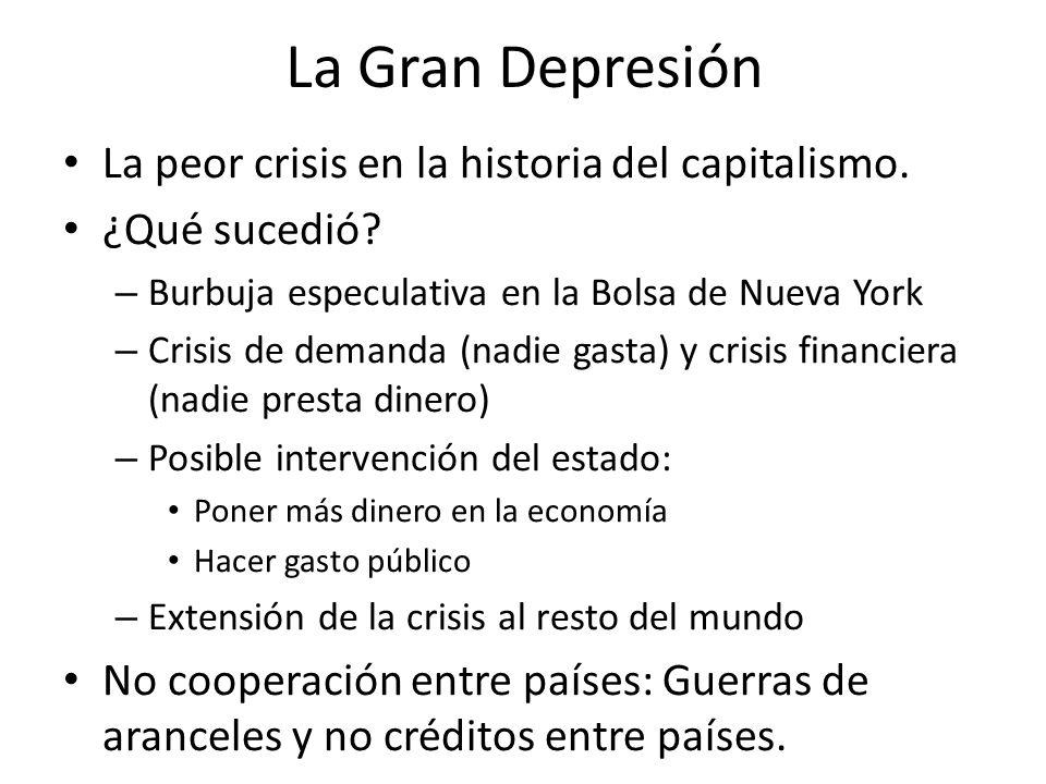 La Gran Depresión La peor crisis en la historia del capitalismo.