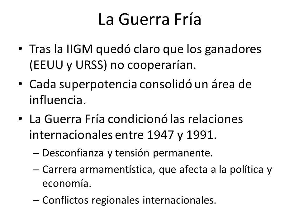 La Guerra Fría Tras la IIGM quedó claro que los ganadores (EEUU y URSS) no cooperarían. Cada superpotencia consolidó un área de influencia.