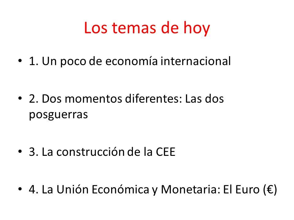 Los temas de hoy 1. Un poco de economía internacional