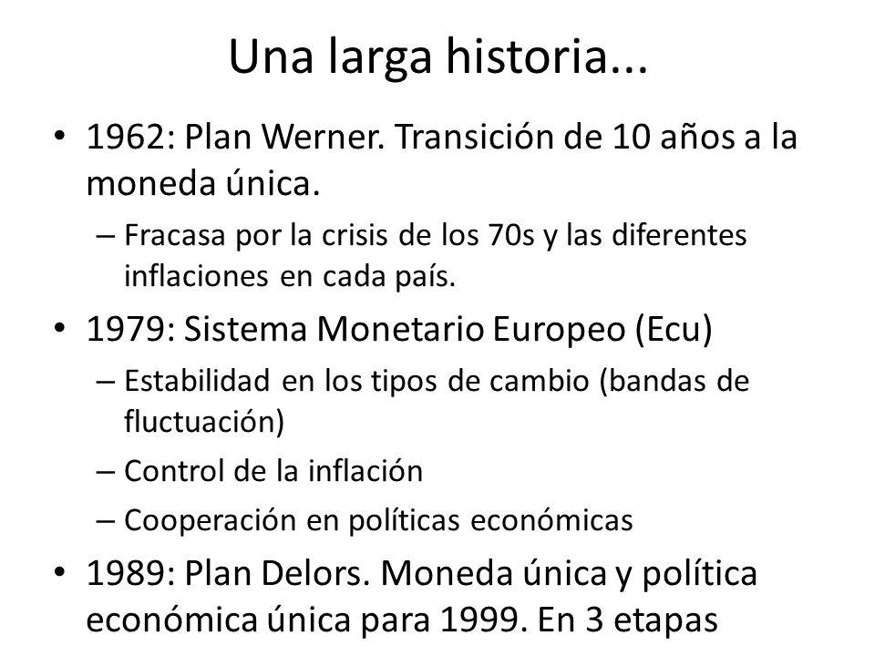 Una larga historia... 1962: Plan Werner. Transición de 10 años a la moneda única.