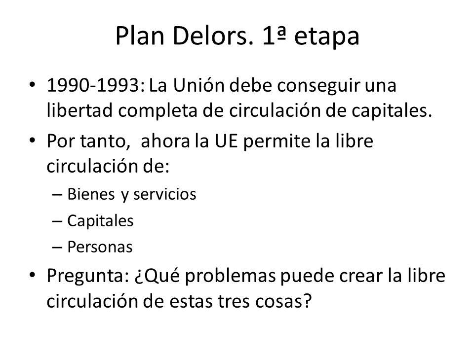 Plan Delors. 1ª etapa 1990-1993: La Unión debe conseguir una libertad completa de circulación de capitales.