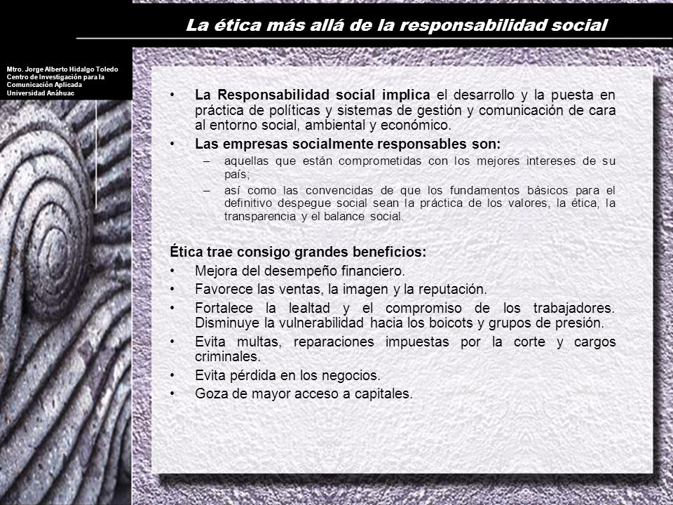La ética más allá de la responsabilidad social