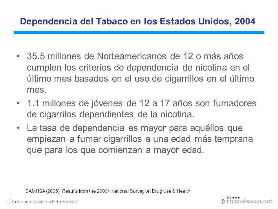Dependencia del Tabaco en los Estados Unidos, 2004