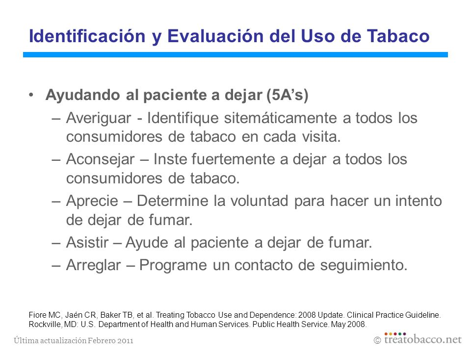 Identificación y Evaluación del Uso de Tabaco