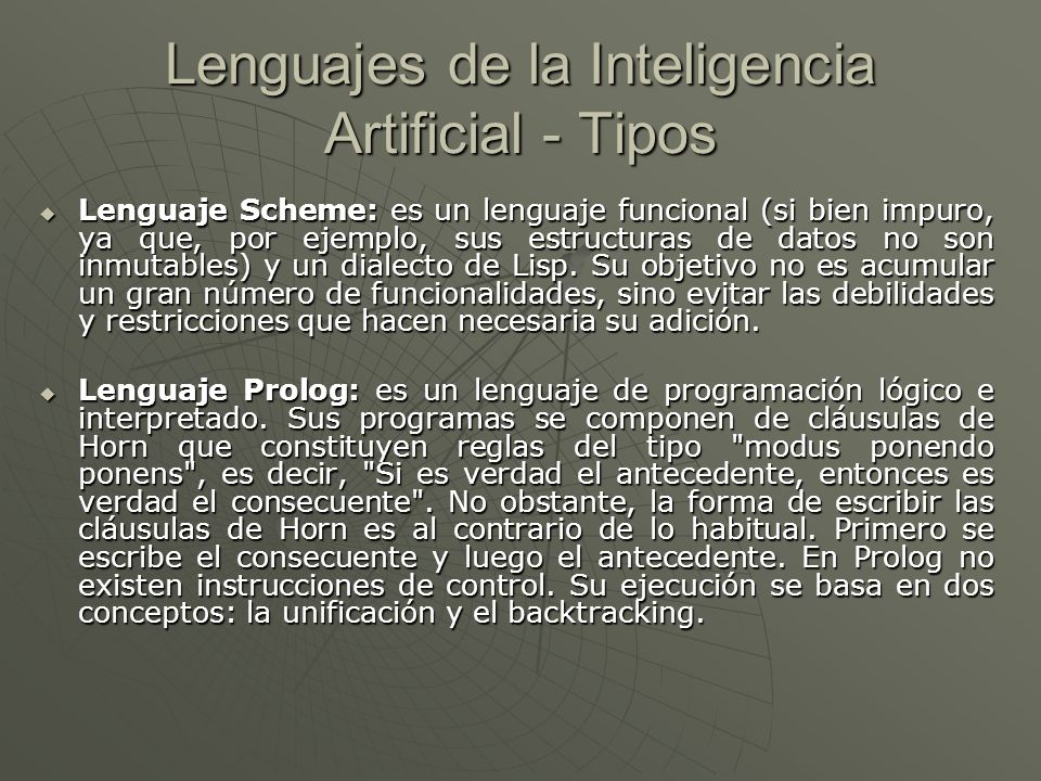 Lenguajes de la Inteligencia Artificial - Tipos
