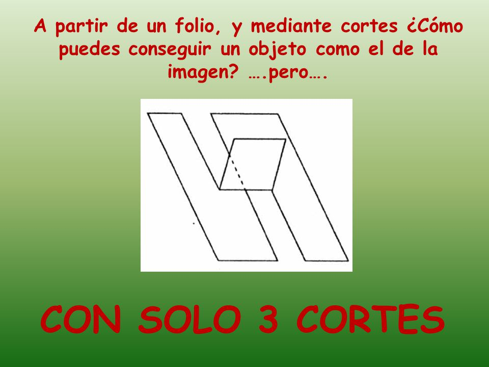 A partir de un folio, y mediante cortes ¿Cómo puedes conseguir un objeto como el de la imagen ….pero….