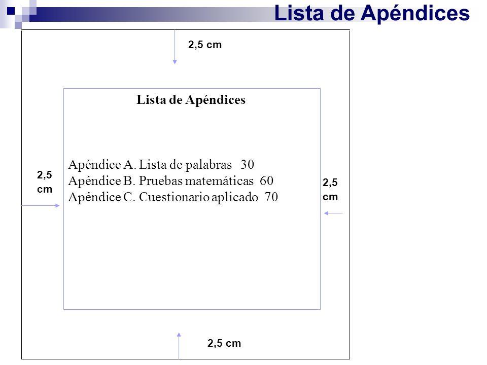 Lista de Apéndices Lista de Apéndices Apéndice A. Lista de palabras 30