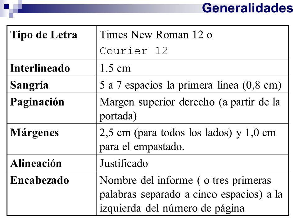 Generalidades Tipo de Letra Times New Roman 12 o Courier 12