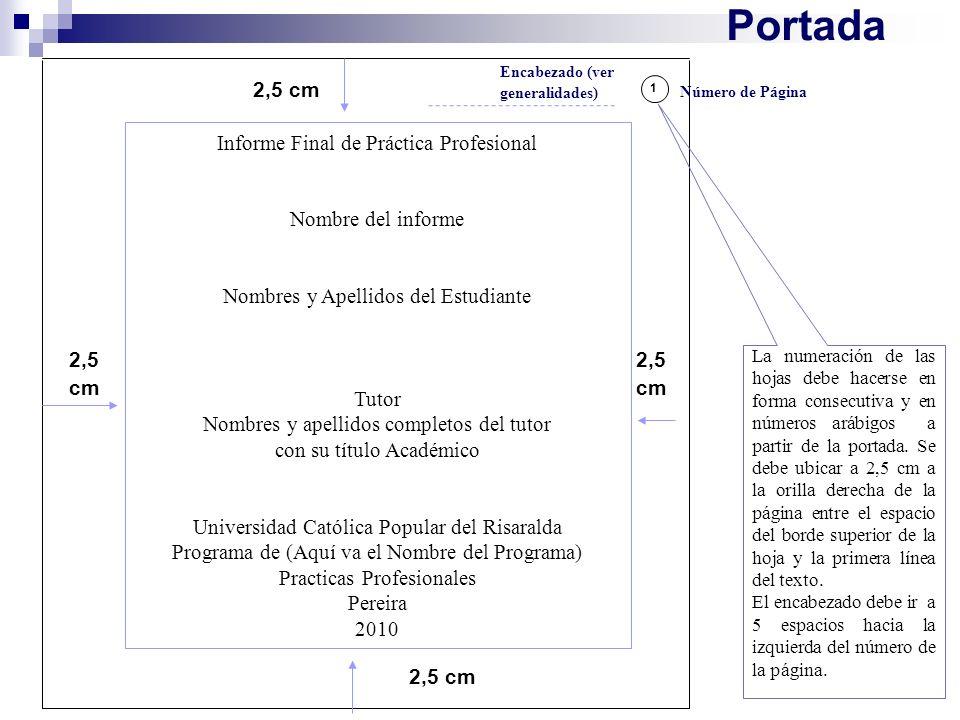 Portada Informe Final de Práctica Profesional Nombre del informe