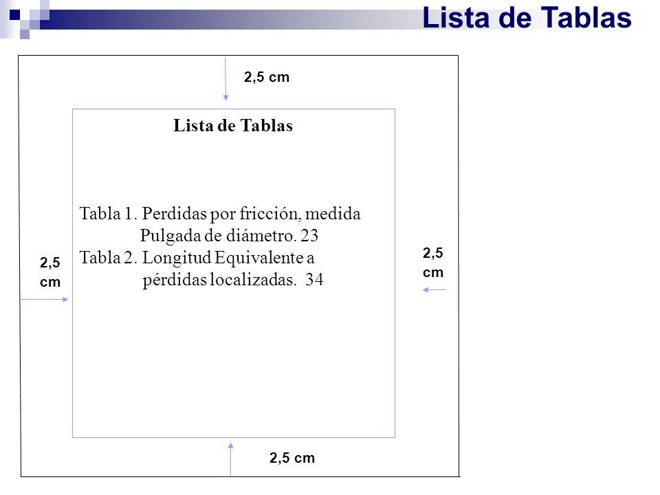 Lista de Tablas Lista de Tablas Tabla 1. Perdidas por fricción, medida