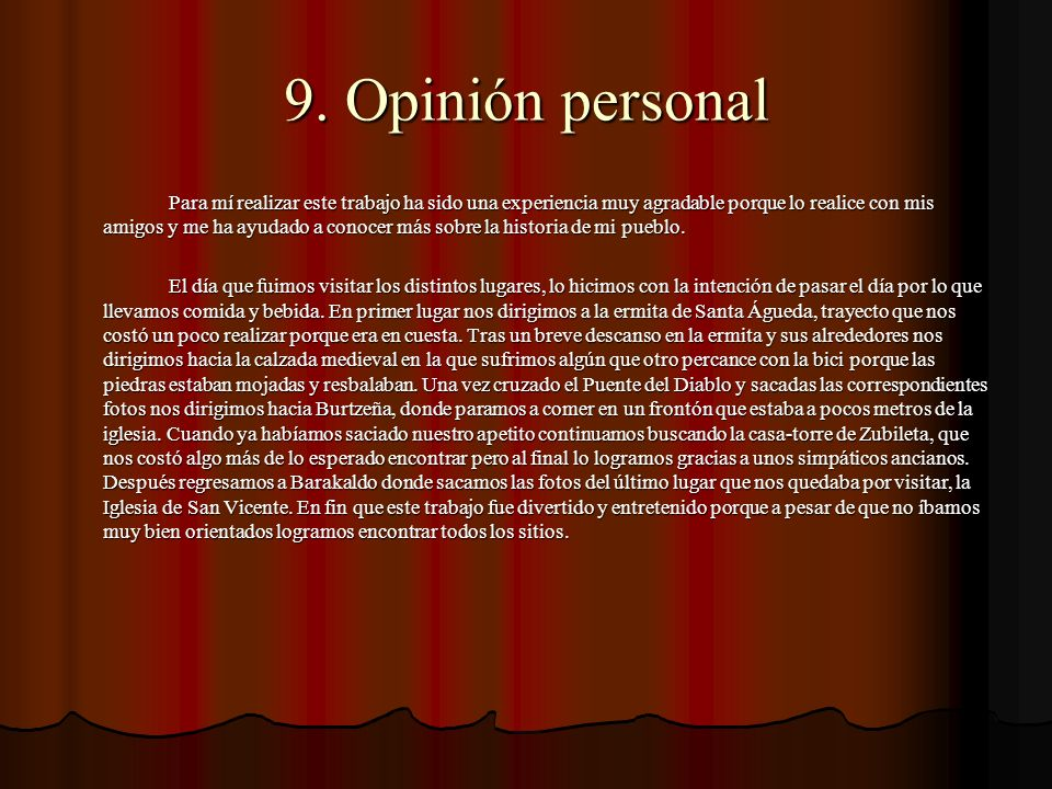 9. Opinión personal