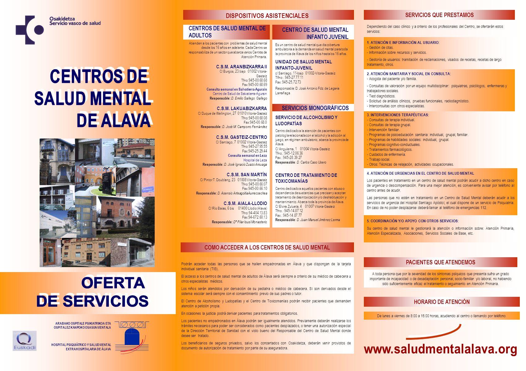OFERTA DE SERVICIOS www.saludmentalalava.org