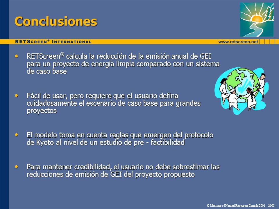 Conclusiones RETScreen® calcula la reducción de la emisión anual de GEI para un proyecto de energía limpia comparado con un sistema de caso base.