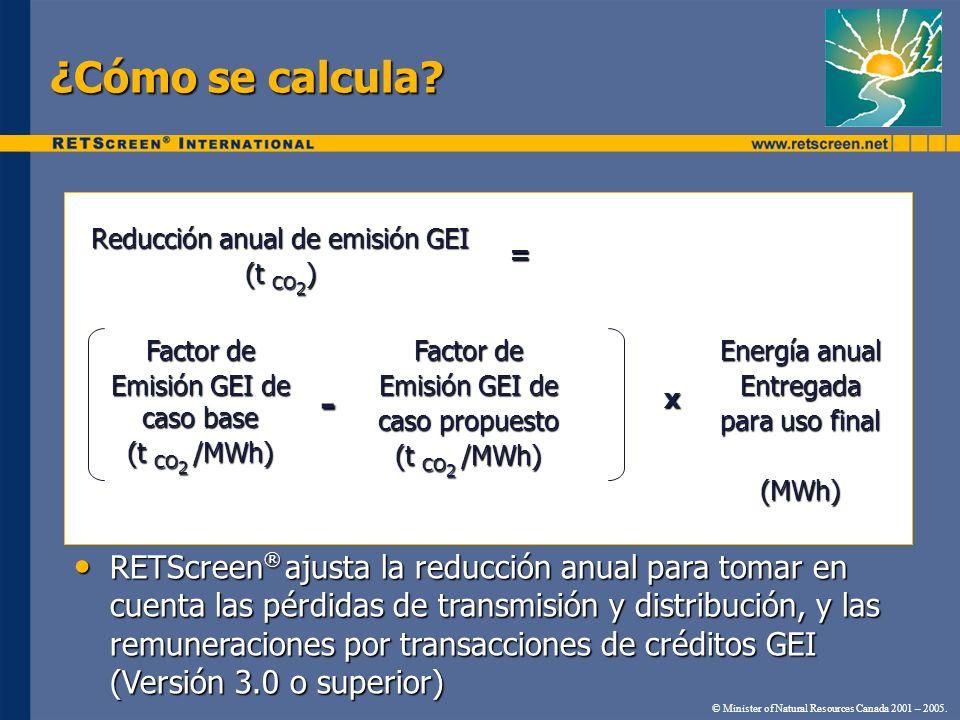 ¿Cómo se calcula Reducción anual de emisión GEI. (t CO2) = Factor de. Emisión GEI de caso base.