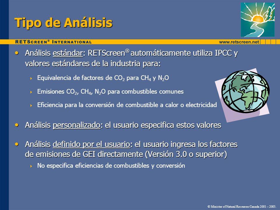 Tipo de Análisis Análisis estándar: RETScreen® automáticamente utiliza IPCC y valores estándares de la industria para: