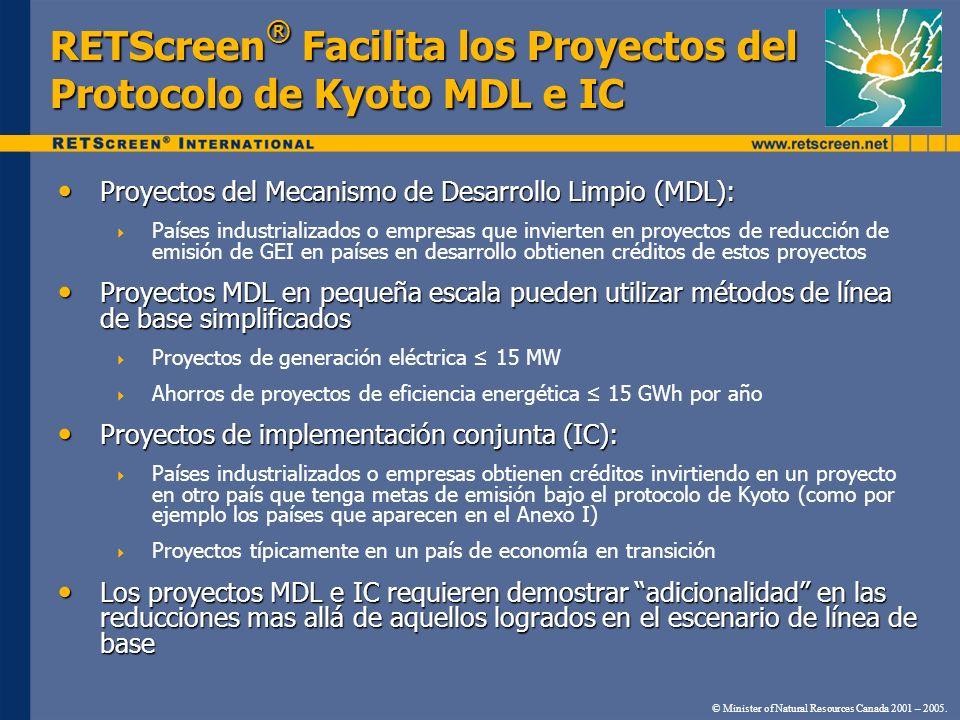 RETScreen® Facilita los Proyectos del Protocolo de Kyoto MDL e IC