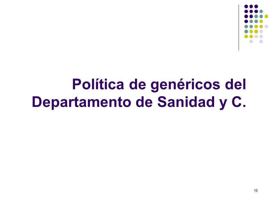 Política de genéricos del Departamento de Sanidad y C.