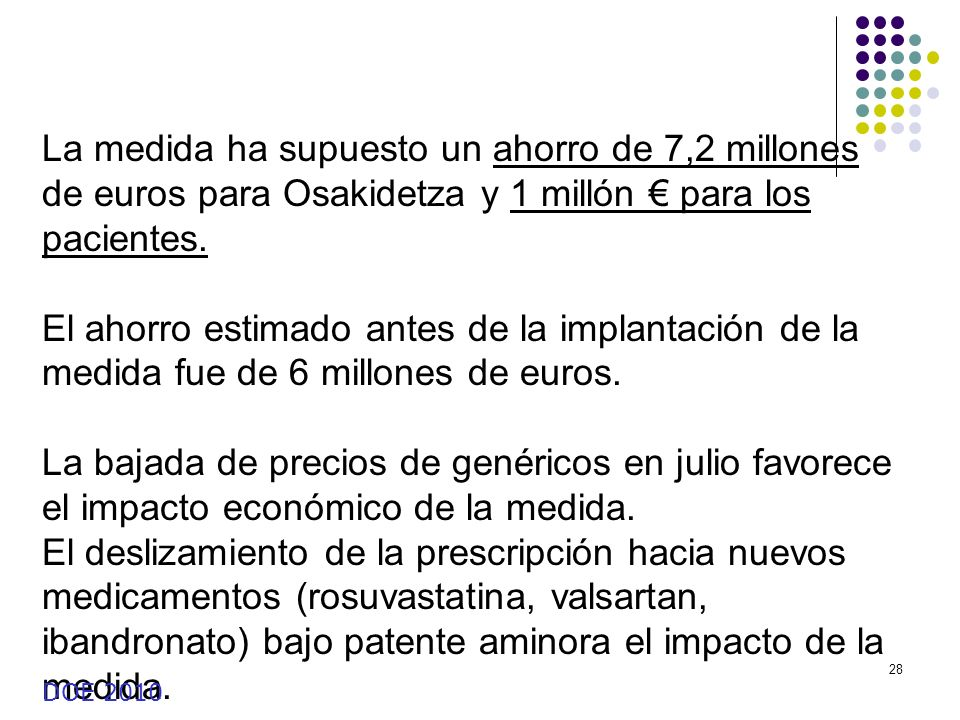 La medida ha supuesto un ahorro de 7,2 millones de euros para Osakidetza y 1 millón € para los pacientes.
