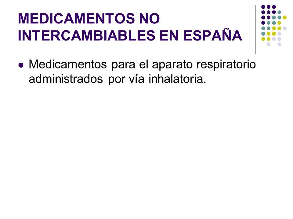MEDICAMENTOS NO INTERCAMBIABLES EN ESPAÑA