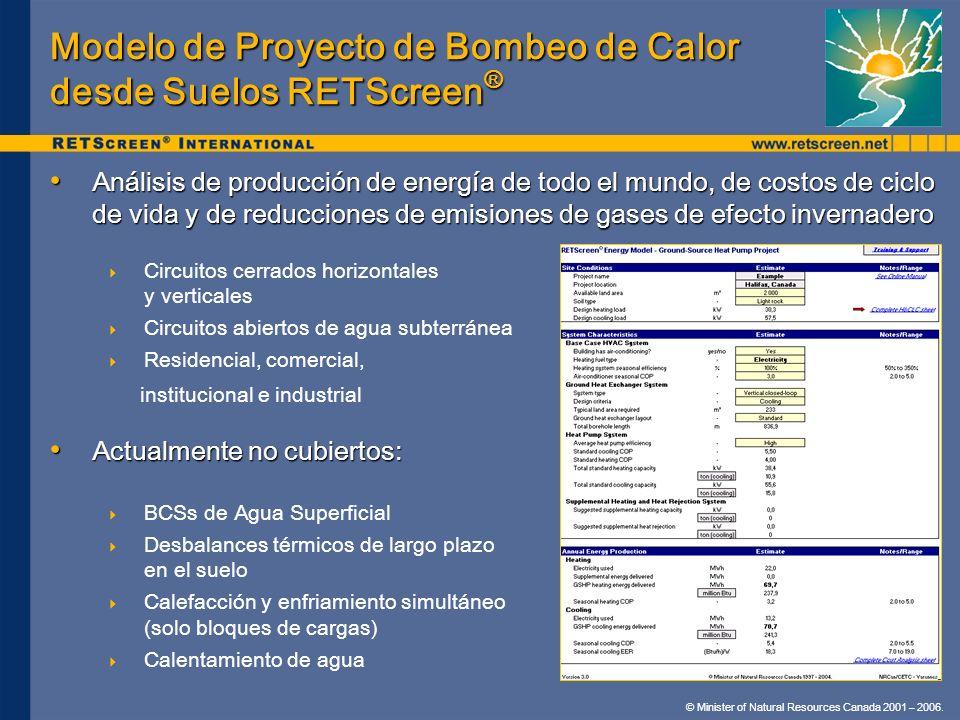 Modelo de Proyecto de Bombeo de Calor desde Suelos RETScreen®