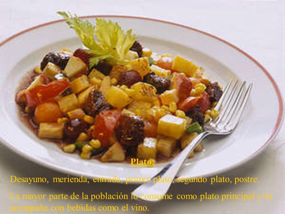 Plato: Desayuno, merienda, entrada, primer plato, segundo plato, postre.
