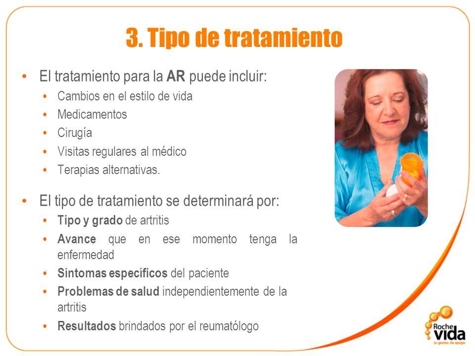 3. Tipo de tratamiento El tratamiento para la AR puede incluir: