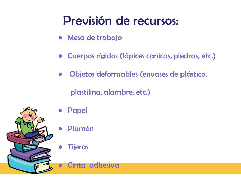 Previsión de recursos: