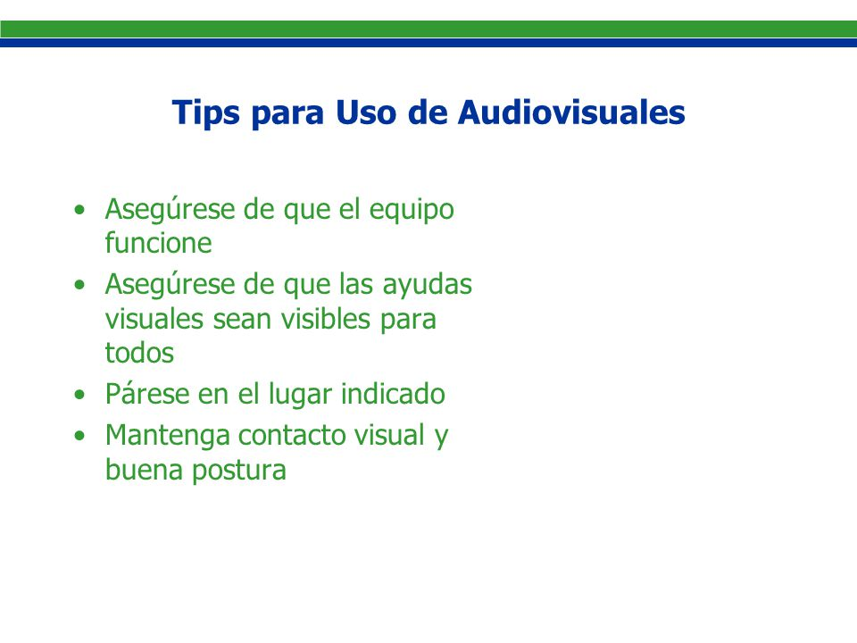 Tips para Uso de Audiovisuales