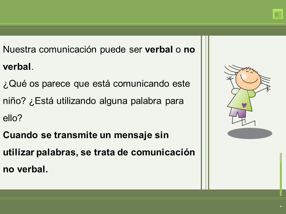 Nuestra comunicación puede ser verbal o no verbal.