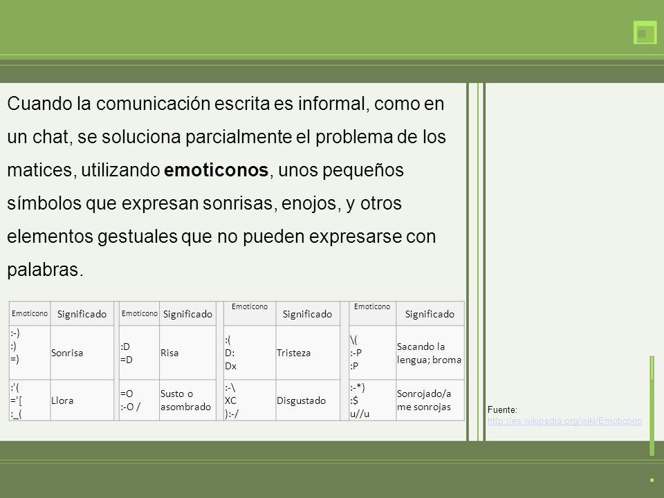 Cuando la comunicación escrita es informal, como en un chat, se soluciona parcialmente el problema de los matices, utilizando emoticonos, unos pequeños símbolos que expresan sonrisas, enojos, y otros elementos gestuales que no pueden expresarse con palabras.