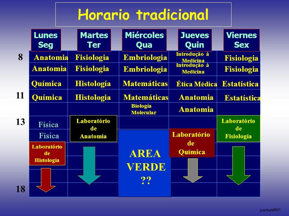 Horario tradicional AREA VERDE 8 11 13 18 Lunes Seg Martes Ter