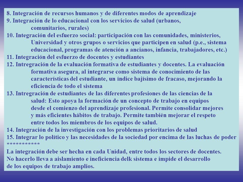 8. Integración de recursos humanos y de diferentes modos de aprendizaje