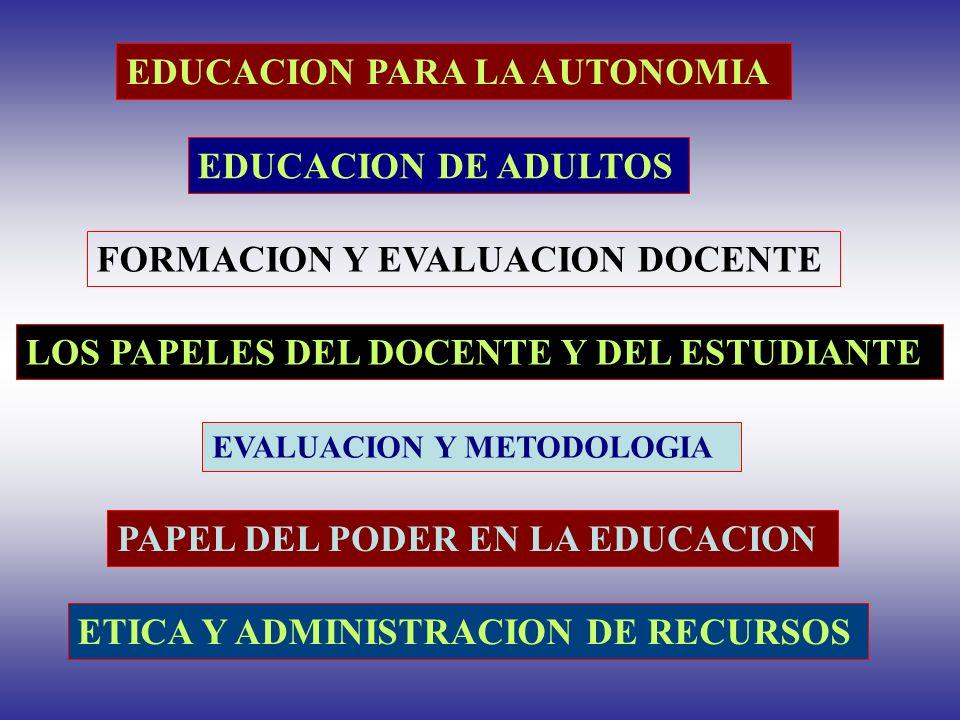EDUCACION PARA LA AUTONOMIA