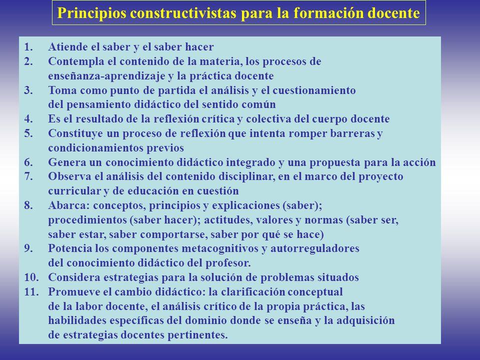 Principios constructivistas para la formación docente