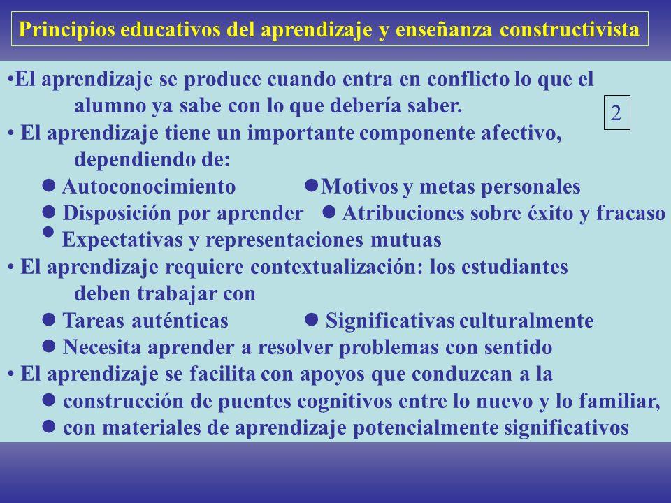 Principios educativos del aprendizaje y enseñanza constructivista