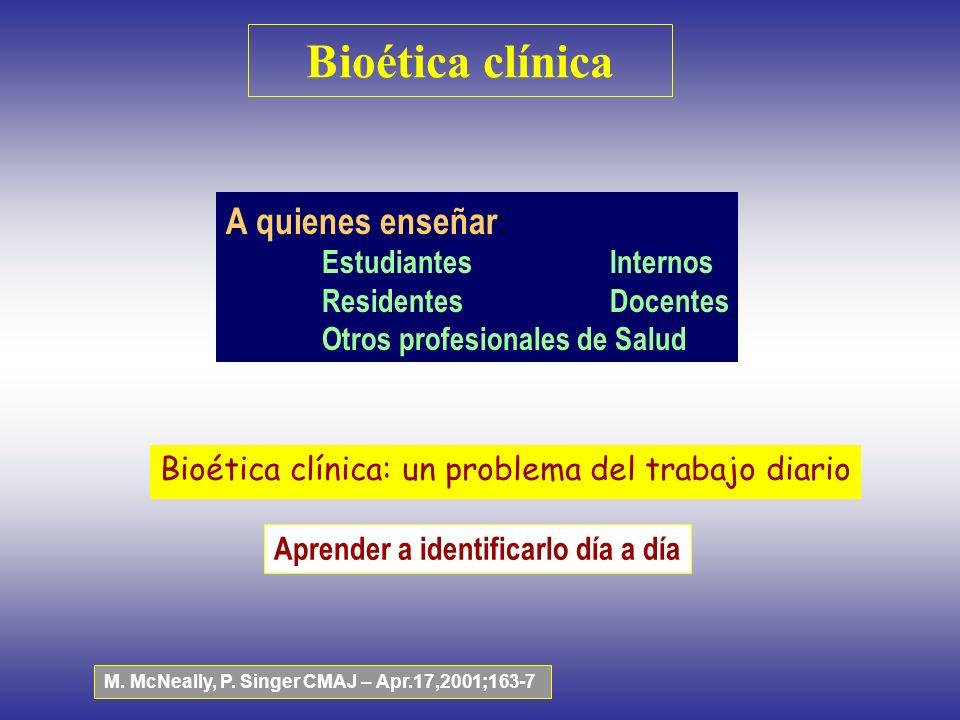 Bioética clínica A quienes enseñar: Estudiantes Internos