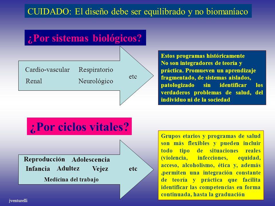 ¿Por ciclos vitales ¿Por sistemas biológicos