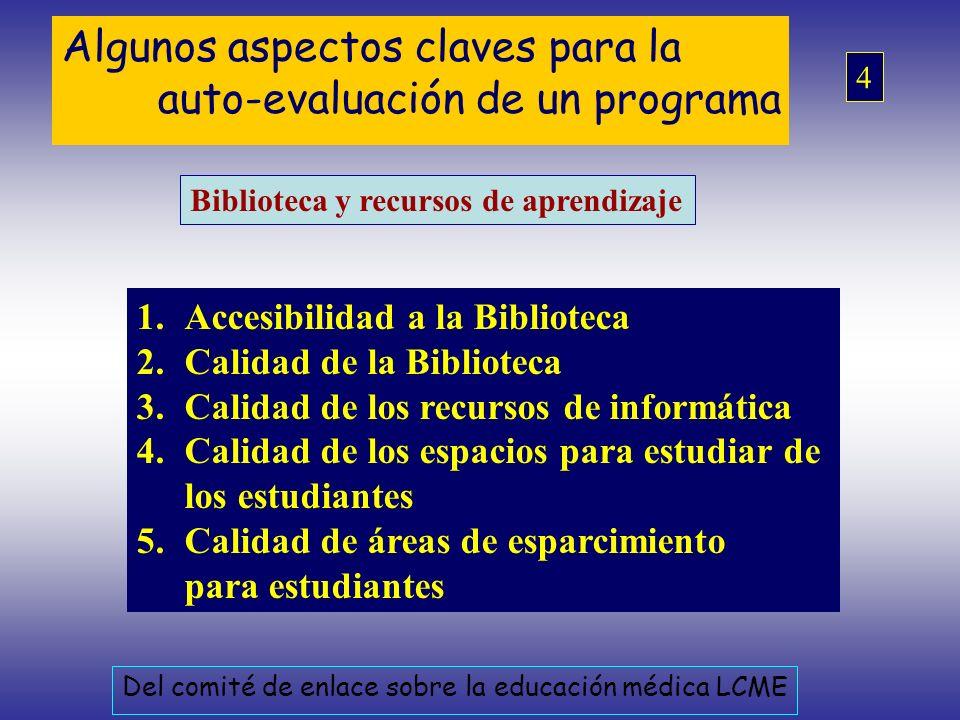 Algunos aspectos claves para la auto-evaluación de un programa