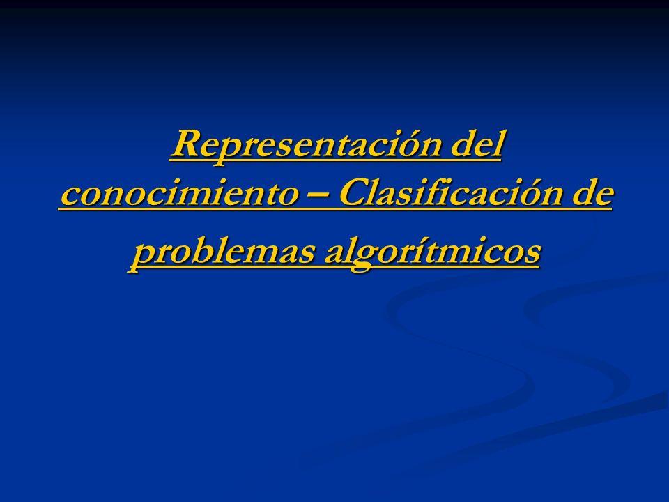 Representación del conocimiento – Clasificación de problemas algorítmicos