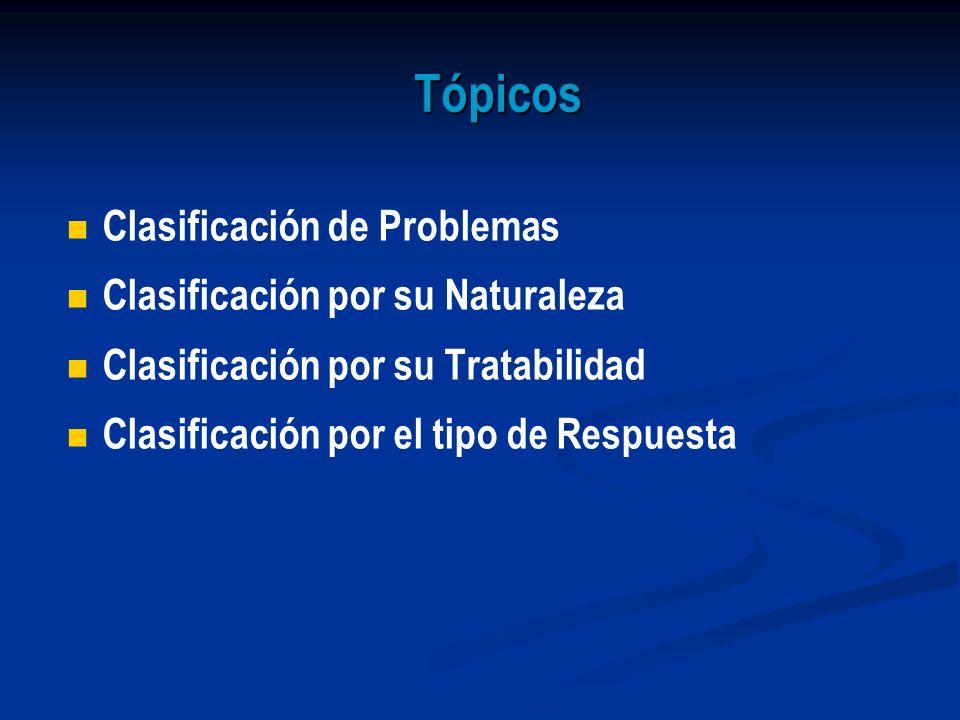 Tópicos Clasificación de Problemas Clasificación por su Naturaleza