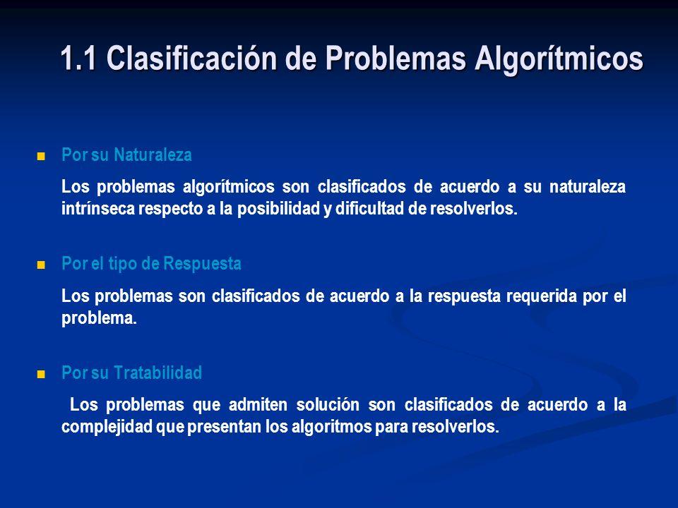 1.1 Clasificación de Problemas Algorítmicos