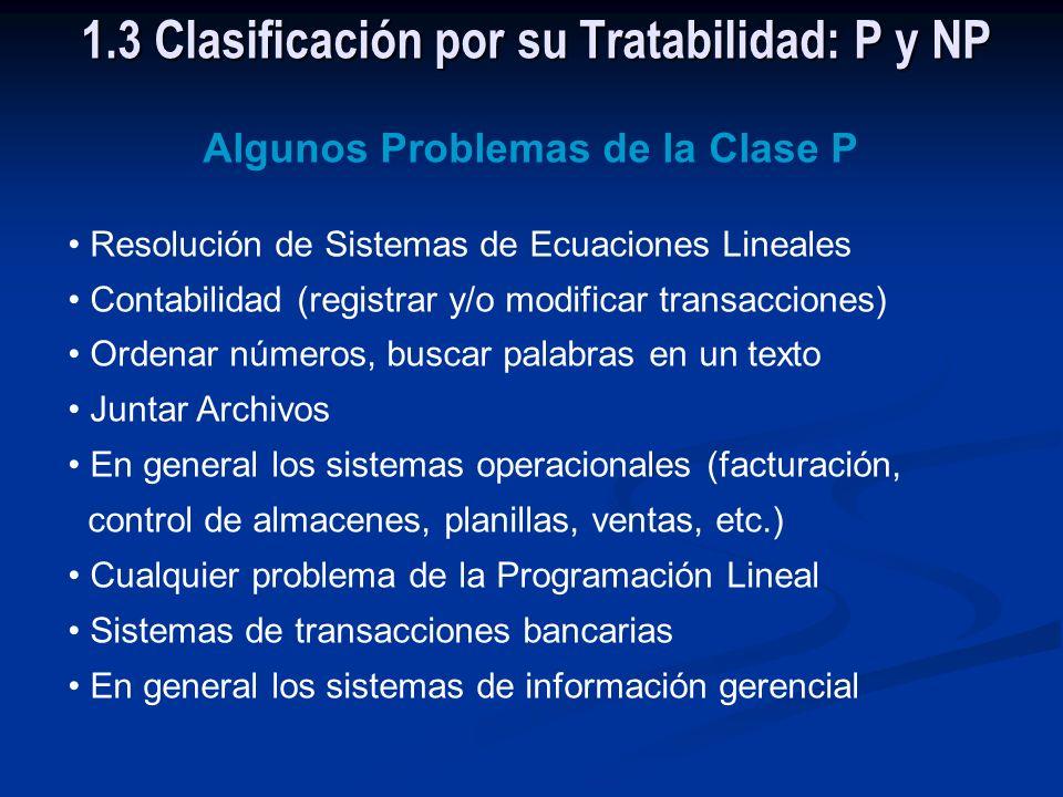 1.3 Clasificación por su Tratabilidad: P y NP