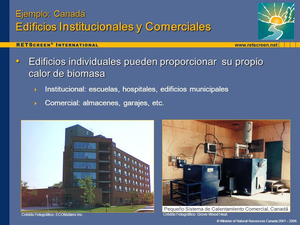 Ejemplo: Canadá Edificios Institucionales y Comerciales